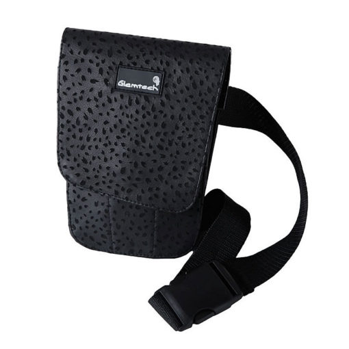 GLAMTECH Black Leopard Leather Pouch