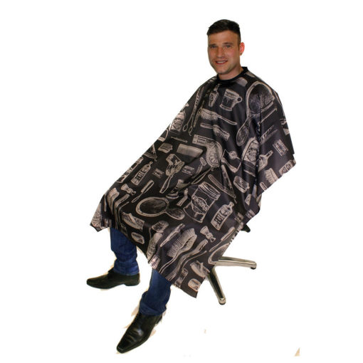 cutting cape with a vintage barber style design available in white or charcoal. The cutting cape is water repellent polyester woven material and has a hook fastening that adjusts to fit all. The size of the barber gown is 120cm by 148cm, with the length from the neck measuring at 100cm.