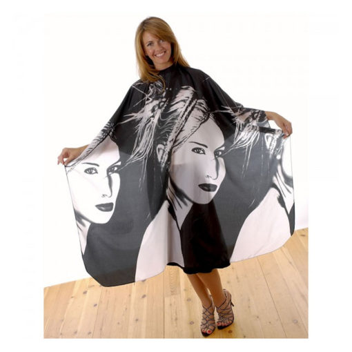 Water-repellent, crinkled shiny nylon gown with a stylish black and white portrait design. Press stud fastening allows adjustment to fit all. Static free.
